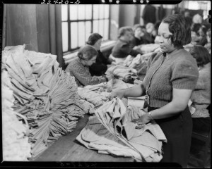 Woman working on a sewing shop