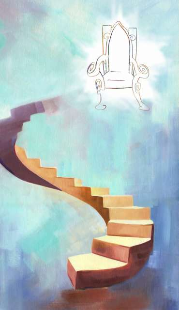 Painting of a stairwell and throne