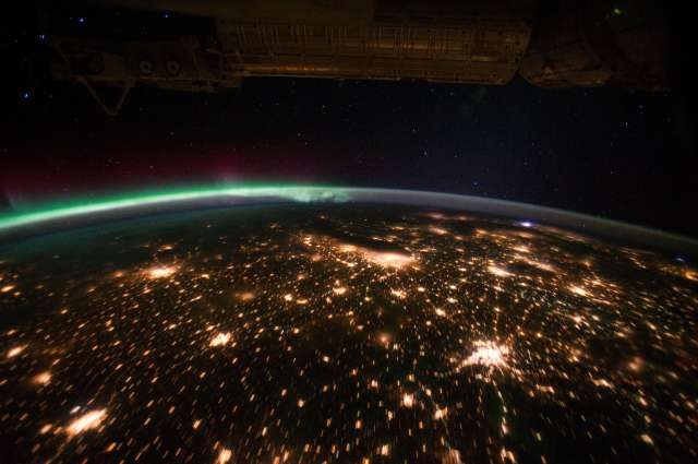 Midwestern USA at Night with Aurora Borealis
