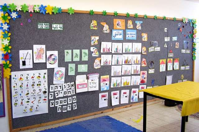 The classroom wall of the Hand in Hand school.