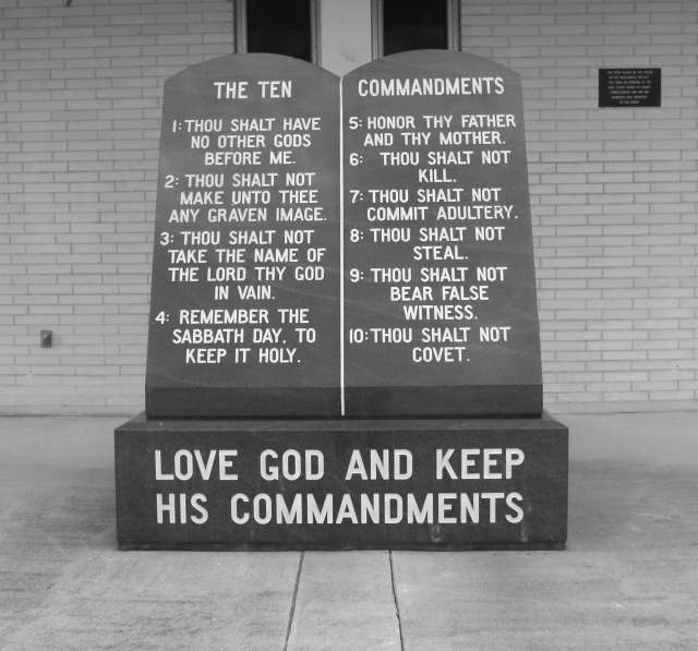 The Tem Commandment inscribed in stone.