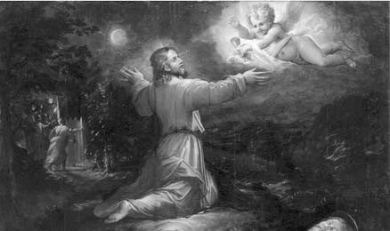 Painting of man talking to an angel