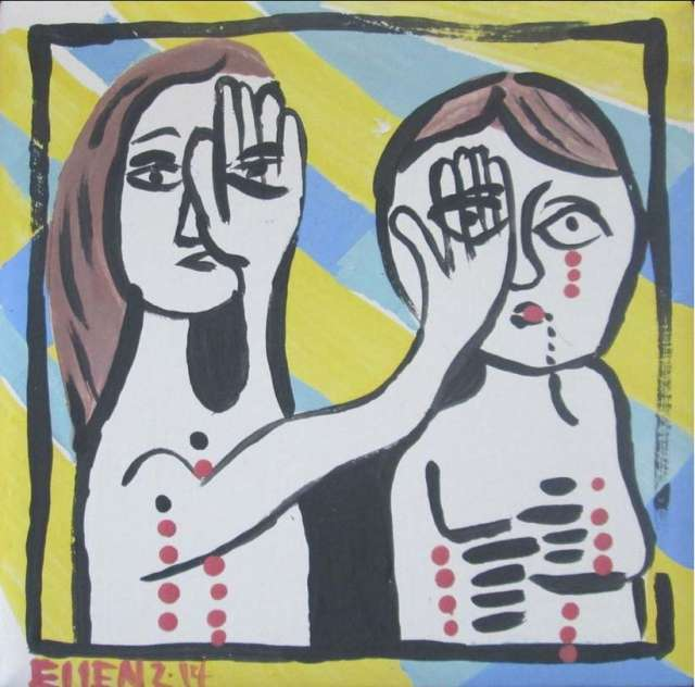 Illustration of a figure covering both one of their eyes and one of another figure's eyes.
