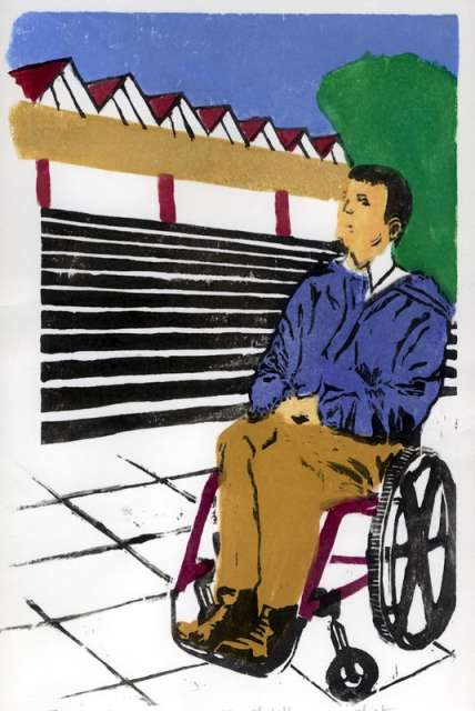 Illustration of a man in a wheelchair looking up pondering.