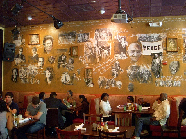 Mural about peace in a restaurant.