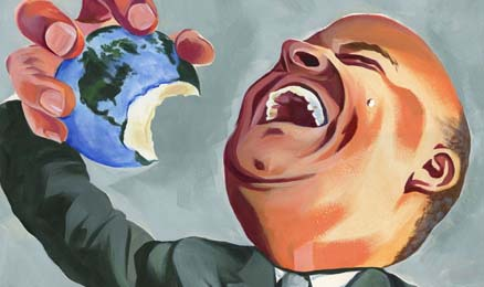 Illustration of suited man laughing while eating the earth
