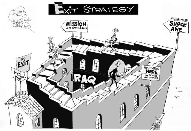 Editorial cartoon of people walking around an endless staircase.