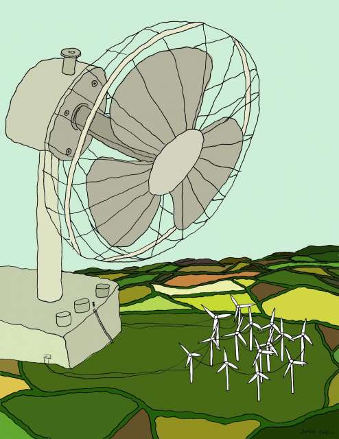 Illustration of huge household fan blowing on small hillside fans.