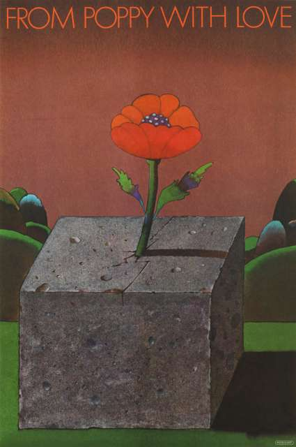 "Illustration of a poppy growing out of a block of cement with the words ""From Poppy With Love"" written above."