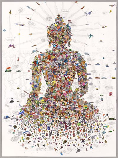 Illustration of the Buddha made of smaller images.