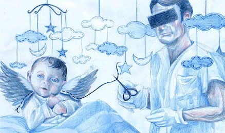 Illustration of a baby angel and a doctor with a black rectangle over his eyes and a pair of scissors in hand.