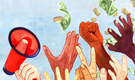 A representation of Jubilee, with hands upraised tossing money into the air