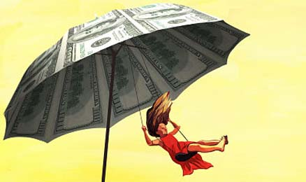 Woman swinging from an umbrella of money.