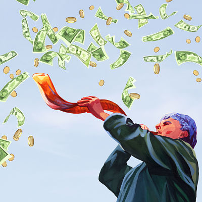 Illustration of someone blowing a shofar as money cascades from the sky.