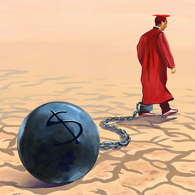 Illustration of a graduate in robes and cap with a ball and chain strapped to his ankle representing debt.