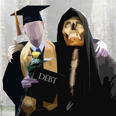 Illustration of faceless college graduate holding a diploma that says debt and in arms with the grim reaper.