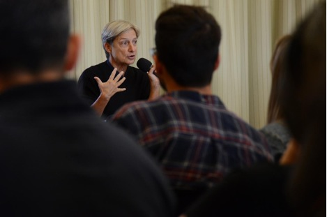 Judith Butler speaking to audience.