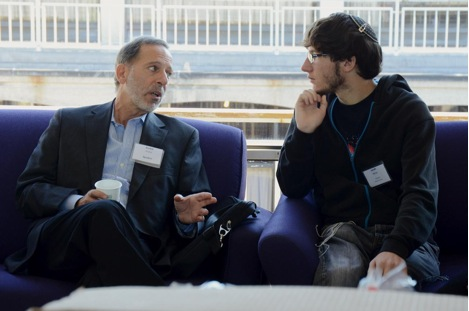 Professor Rashid Khalidi talks to a Jewish student