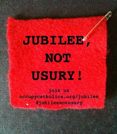 "Patch reading, ""Jubilee, not usury."""