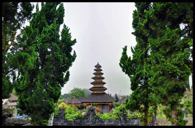 Temple in a forest.