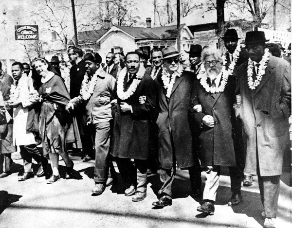 Civil Rights activists marching
