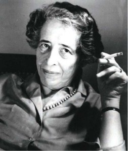 A black and white photograph of Hannah Arendt.