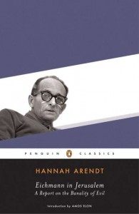 The book cover of Eichmann in Jerusalem, by Arendt.