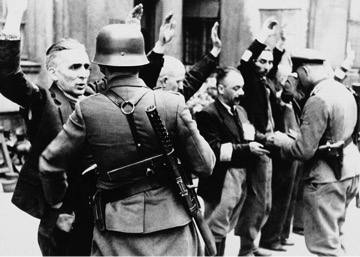 Men holding hands up in front of Nazi forces.