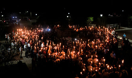 White terrorists gather in Charlottesville in August 2017.
