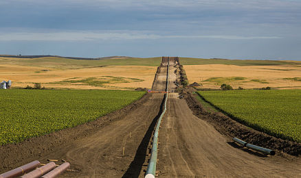 Photo of the DAPL (Dakota Access Pipeline) being installed between farms, as seen from 50th Avenue in New Salem, North Dakota