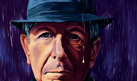 Image of Leonard Cohen wearing a hat, standing in the rain.