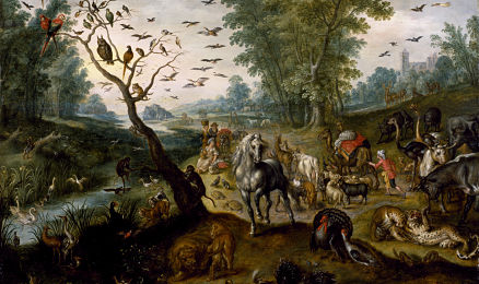 "Image of ""Noah's Family Assembling Animals before the Ark"" by Jan Van Kessel II––many animals gathered on a landscape."