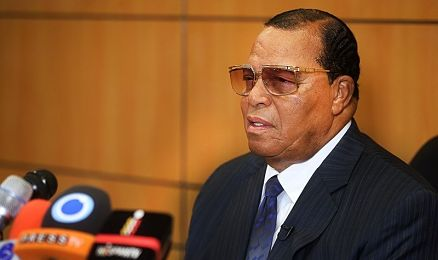 Image of Louis Farrakhan speaking into a microphone