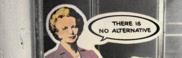 "Cartoon of woman looking at viewer with air bubble: ""There is no alternative"""