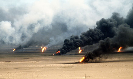 Oil well fires rage outside Kuwait City in the aftermath of Operation Desert Storm