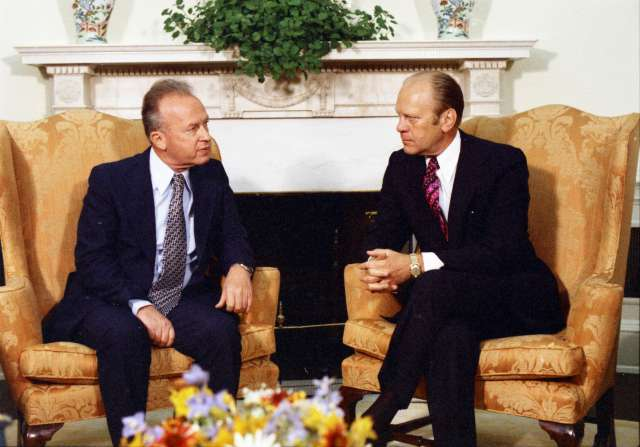 Image of President Gerald R. Ford and Prime Minister Yitzhak Rabin meeting in the Oval Office