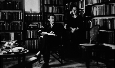 Image of Gershom Scholem and his second wife Fania in Gershom Scholem's library at the home they rented in the Rehavia neighborhood of Jerusalem.
