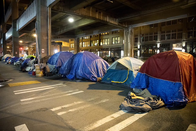 Row of tents under an overpass in Seattle