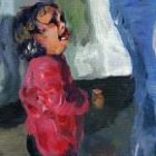 Painting of photo of young Honduran girl watching as mother is given pat down by border patrol