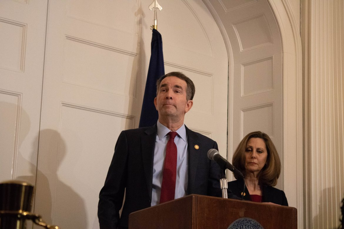 Gov. Ralph Northam speaks at a Feb. 2 press conference in response to the discovery of the racist photo in his medical school yearbook, alongside Virginia first lady Pamela Northam. Photo by Georgia Geen