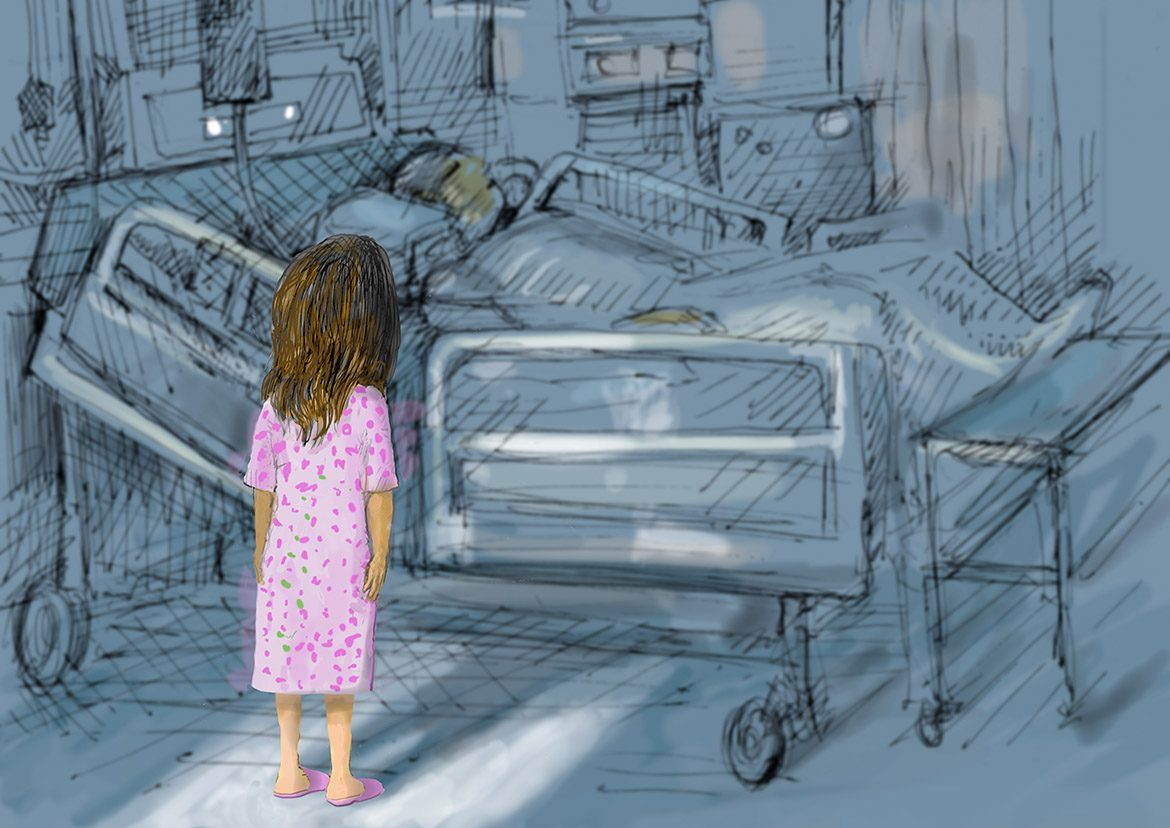 Young girl staring at hospital bed with patient in it