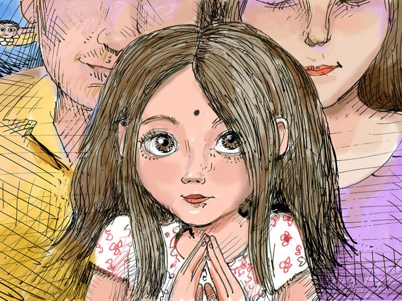 Young girl holding hands together in prayer position with parents behind her