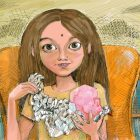 Illustration of young girl unwrapping foil and holding pink crystal