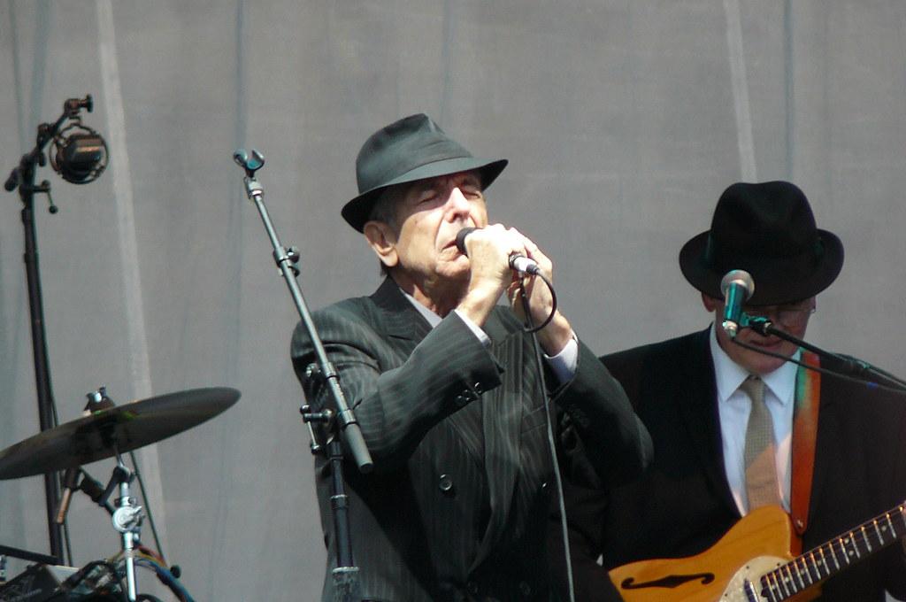 Image of Leonard Cohen singing