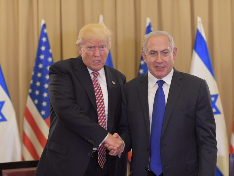 Trump and Netanyahu shaking hands in Israel