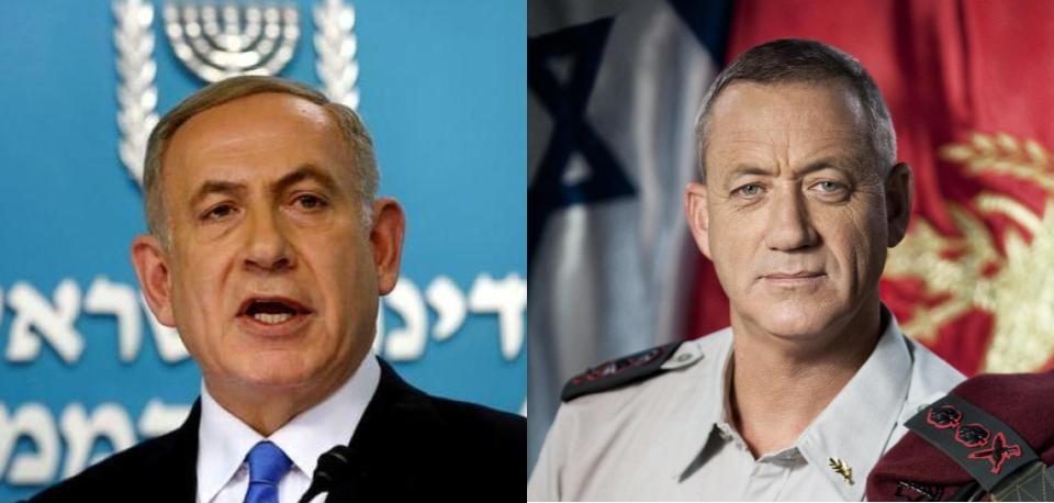 Prime Minister Benjamin Netanyahu (left) and Kahol Lavan leader Benny Gantz