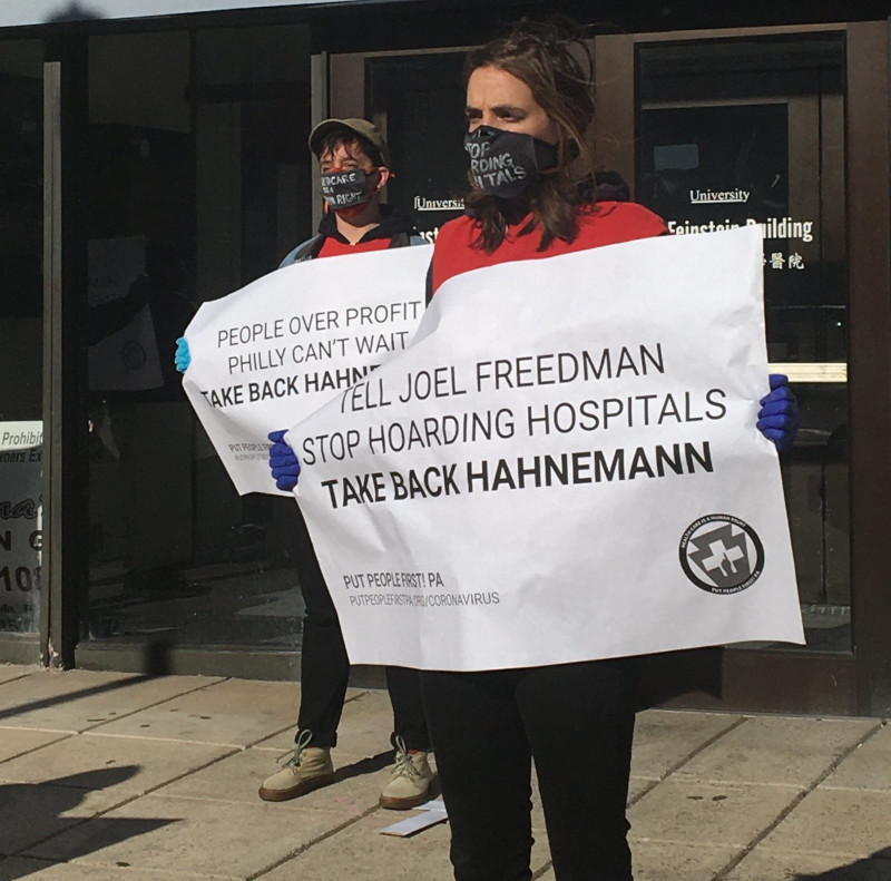 Protesters outside hospital demanding they be public, non-profit entities