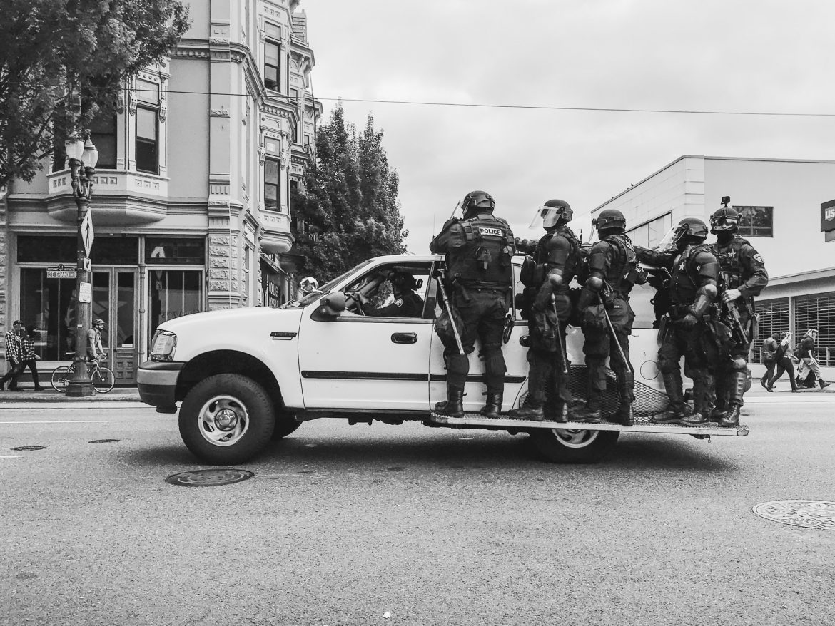 Police in Portland, OR at Proud Boys/Antifa riot